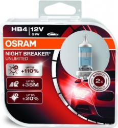 2gab x Osram HB4 (9006) Night Breaker Unlimited 51W (+110%), 12V ― AUTOERA.LV